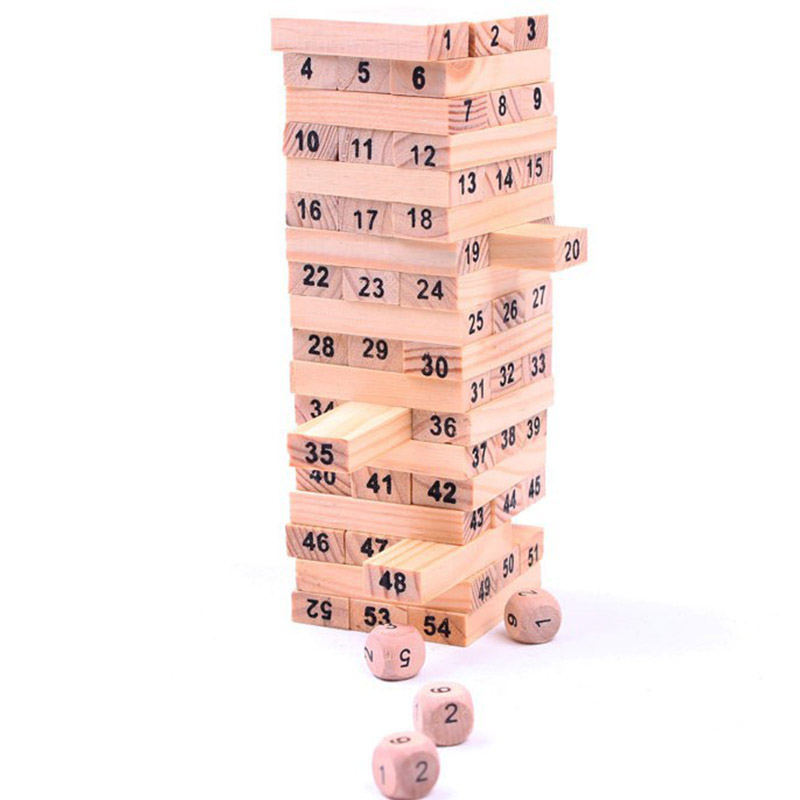 Mini Wooden Tower Wood Building Blocks Toy 54pcs Stacker Extract Building Educational Board Games Gift 4pcs Dice