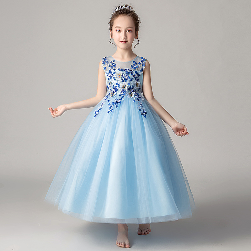 It's YiiYa Flower Girl Dresses For Wedding Lace Applique Ball Gown O-Neck Tulle Kid Party Communion Dress Elegant 2019 CK2979