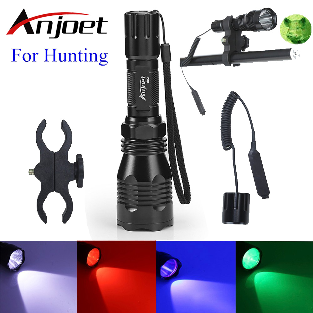 Anjoet Tactical Flashlight White/Green/Red/blue light L2 led Camp torch 1-Mode+Pressure Switch+Mount Hunting Rifle Gun Lamp