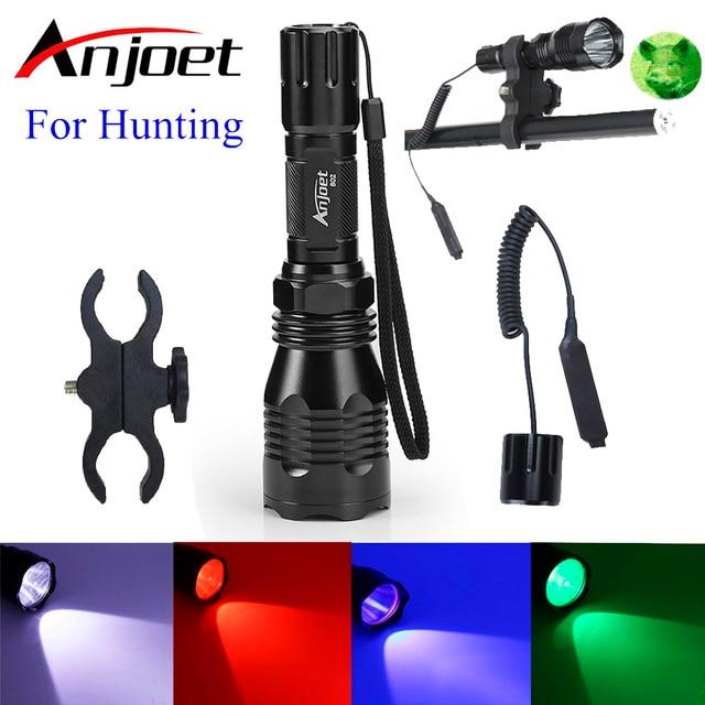 Torcia tattica Anjoet luce bianca/verde/rossa/blu L2 torcia da campo a led 1 modalità + pressostato + attacco lampada per fucile da caccia