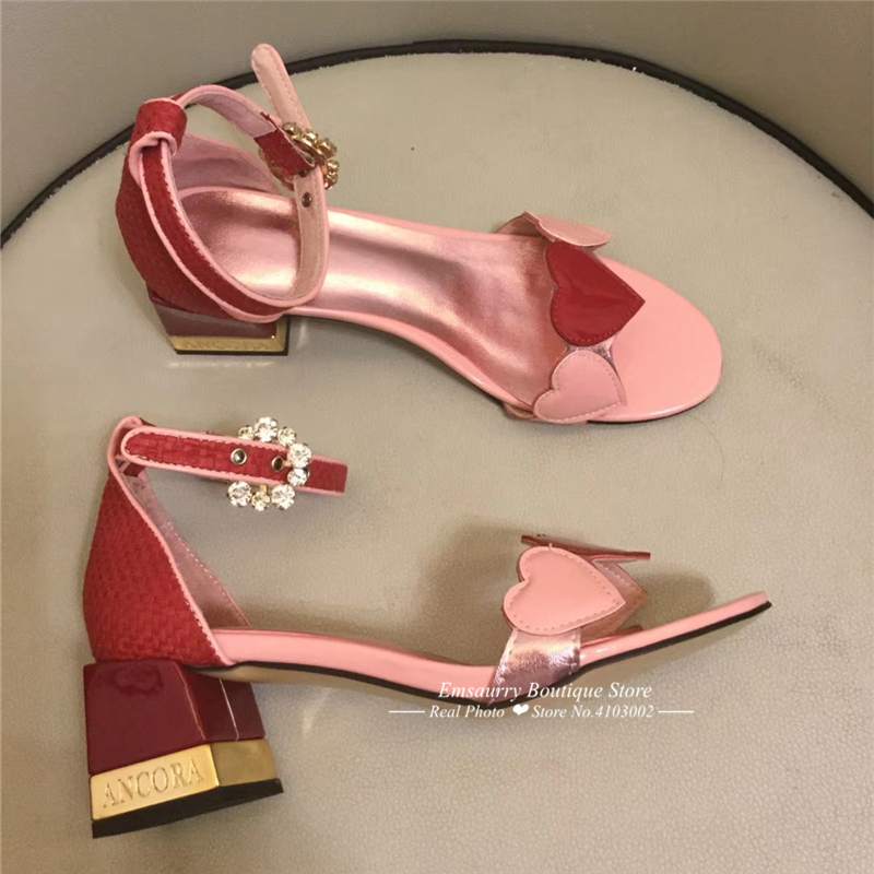 Sweet-heart Pink Letter Heel Sandalias Mujer 2019 Square Chunky Heel Open Toe Cover Heel Mixed Color Crystal Summer Shoes Woman