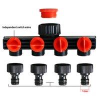 4 Way Hose Connector Splitter Garden Water Splitter Faucet Adapter Hose Shut Off Valve Garden Connection Irrigation Tool