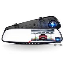 цена на Car Dvr Camera Auto 4.3 Inch Rearview Mirror Dual Lens Car DVR Cameras Full HD 1080P DVRs Registrator Dash cam Camera corder
