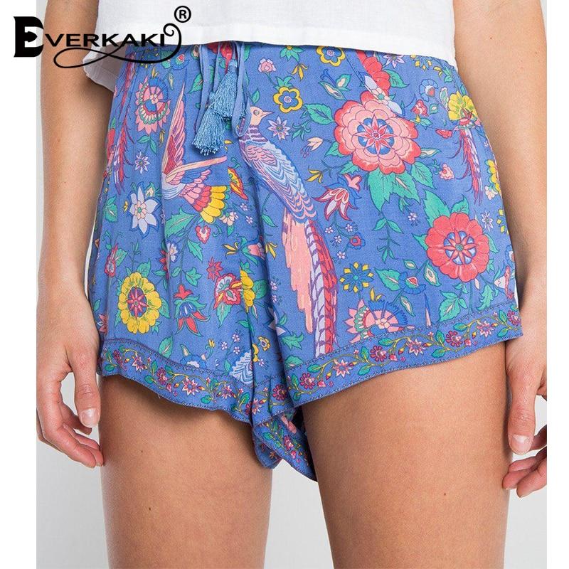 Everkaki Women Boho Floral Print Waist Elastic   Shorts   Bottoms Cotton Tassels Pockets Bohemain   Shorts   Female 2018 Summer New
