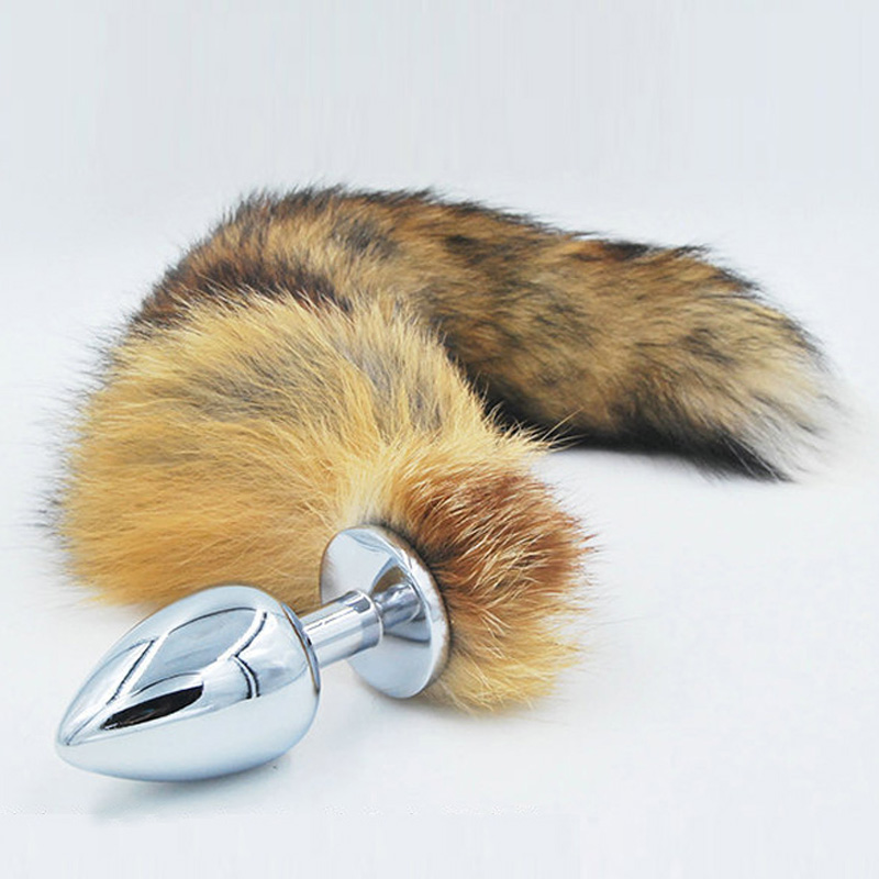 Buy White Anal plug Faux fox tail Stainless steel butt plug cat tail cosplay anal sex toys metal butt plug dog tail women
