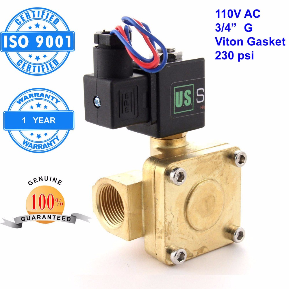 U. S. Solid 3/4 Brass Electric Solenoid Valve 110 V AC Normally Closed G Thread Viton Gasket Air, Gas,Fuel ISO Certified u s solid 3 4 stainless steel electric solenoid valve 110 v ac g normally closed diesel kerosine alcohol air gas oil water