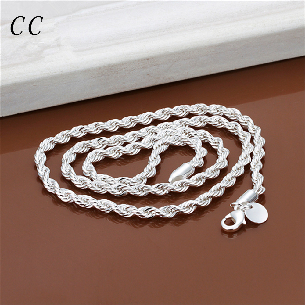 buy simple silver plated necklace for men 18 20 22 24 inches twist rope chain fashion jewelry wholesale gift for boyfriend ccne0727 from