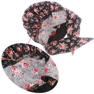 Image 2 - イスラム教徒の女性弾性プリントコットンターバン帽子スカーフ事前縛らがん化学ビーニー帽子ヘッドラップメッキヘアアクセサリー