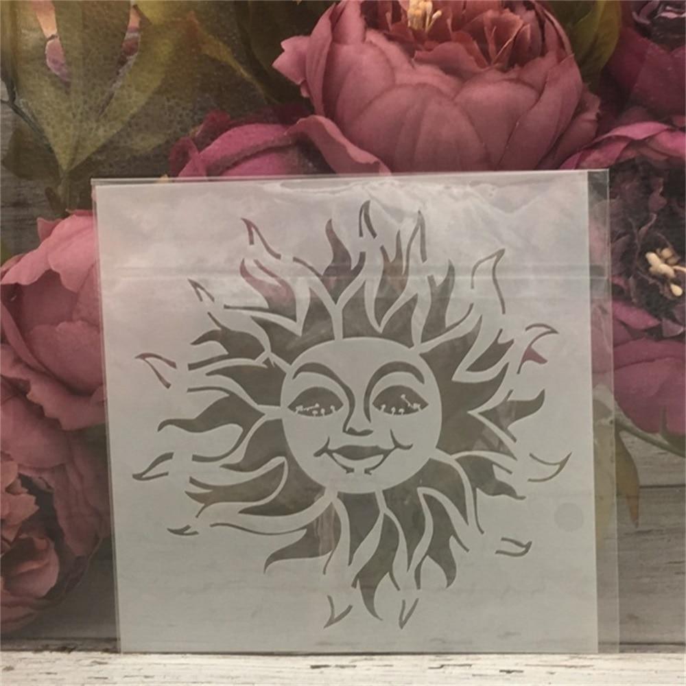 1Pcs 13*13cm Cartoon Sun DIY Layering Stencils Painting Scrapbook Coloring Embossing Album Decorative Card Template