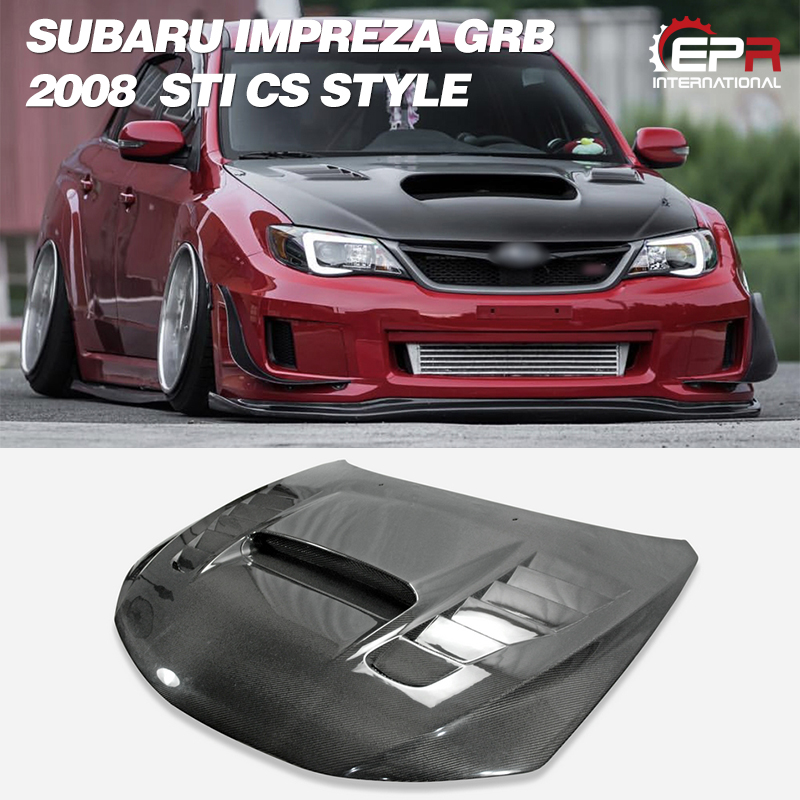 Car Accessories For Impreza 2008 GRB STI A Style Carbon Fiber Hood With Air Vent Glossy Finish Bonnet Cover Tuning Body Kit Part