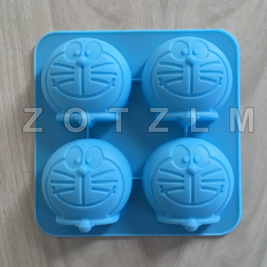 1 Piece 4 Cartoon Cat Cute Doraemon Shapes Silicone Cake Mold Fondant Cookie Soap Biscuit Pudding Mould Pastry Tools GJD041