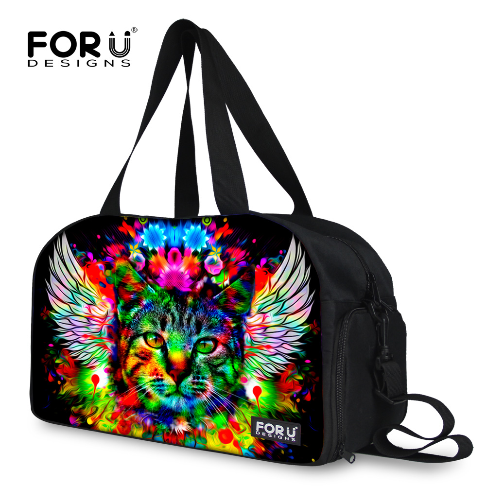 Fashion men women travel handbag casual travel duffle bags animal zoo cute cat leopard print men travel duffle bags large bags