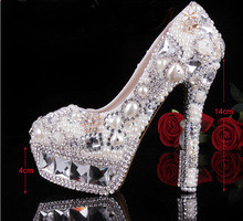 Gorgeous Fashion Ivory Crystal Pearl Round Toe Bridal Wedding Shoes Diamond High Heel Women Dress Shoes  Formal Shoes