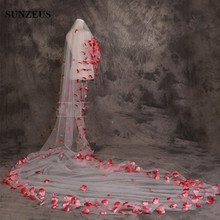 5 Meter Tulle Long Bridal Veil with Red Rose Petals Beautiful Wedding Accessories for velos de novia S151