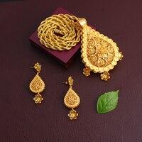 Dubai Gold Nigerian Jewelry Sets African Wedding Bridal charm flower water drop styleSet Ethiopian big Jewelry for women