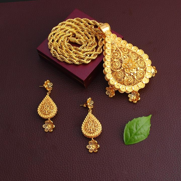 Dubai or nigérian ensembles de bijoux mariage africain charme de mariée fleur goutte d'eau styleSet éthiopien gros bijoux pour les femmes