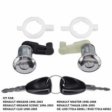Левый+ правый Автомобильный Дверной замок цилиндр с 2 ключами для Renault Megane Scenic Clio Master OE 7701468981 7701468982