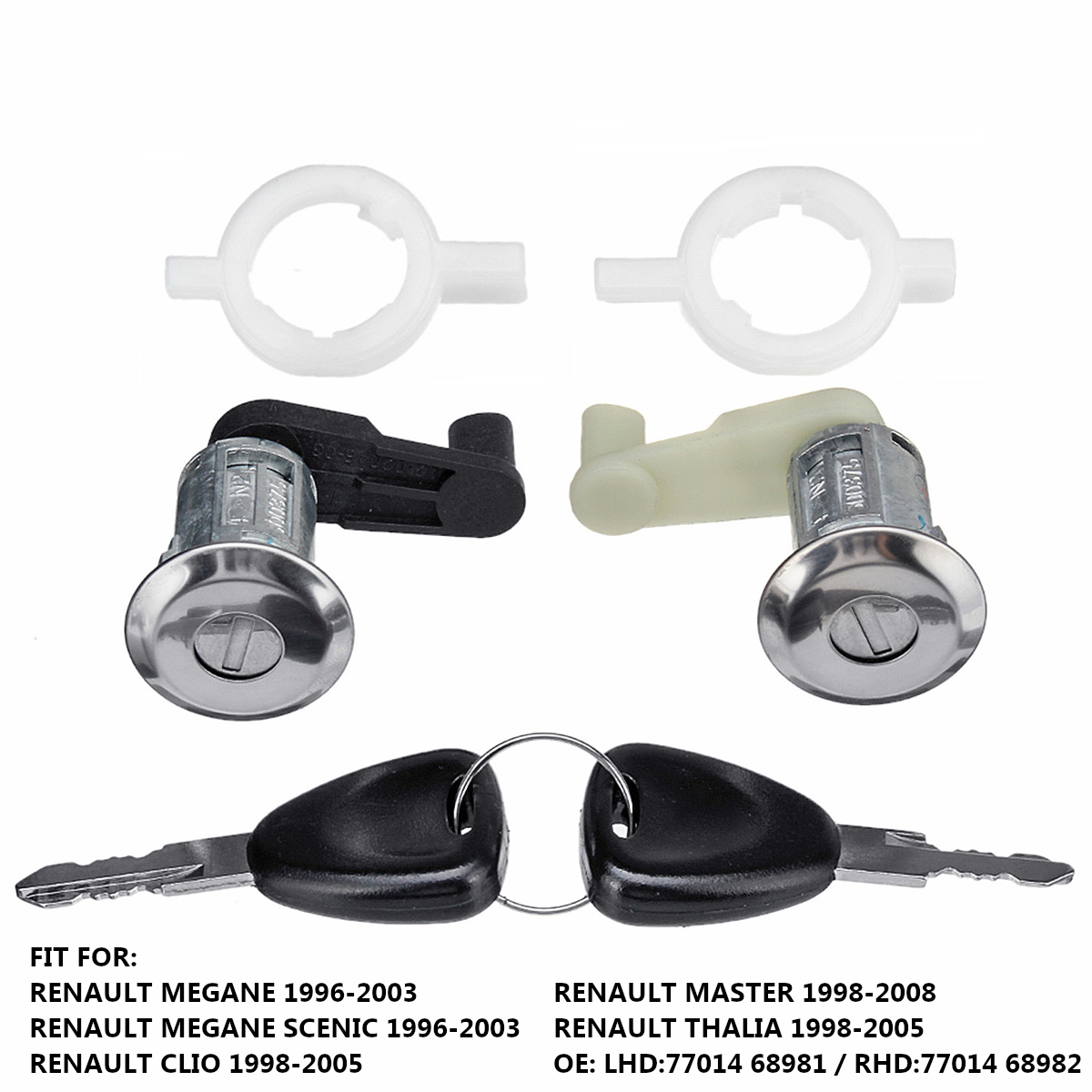 Left+Right Car Door Lock Barrel Cylinder with 2 Key for Renault Megane Scenic Clio Master OE 7701468981 7701468982 for renault kangoo complete lock set ignition switch left right door lock barrel cylinder with 2 same keys page 2