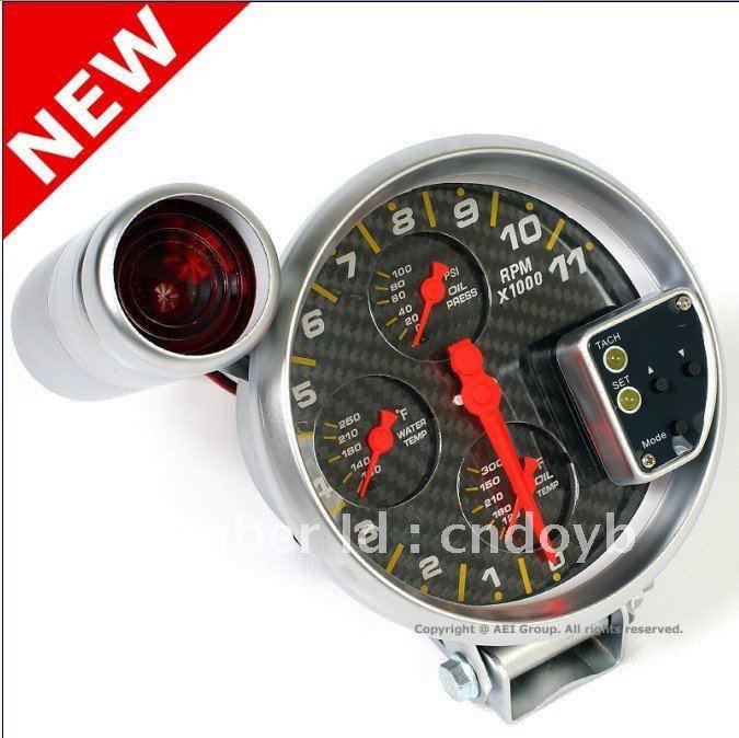 """5"""" 4 IN 1 RPM GAUGE CARBON LOOKING auto meter /Tachometer"""