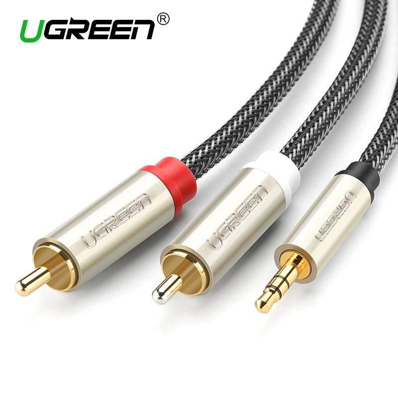 Ugreen RCA Audio Cable 2RCA Male to 3.5mm Jack to 2 RCA AUX Cable Nylon Braided Splitter Cable for Home Theater iPhone Headphone 10pcs new liton 6n sivel plated 1m stereo audio cable 3 5mm male to 2 rca male for subwoofer tv speaker