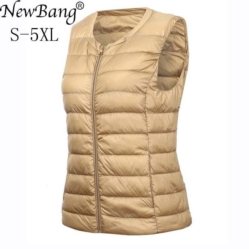 NewBang Brand 4XL 5XL Large Size Waistcoat Women's Warm Vest Ultra Light Down Vest Women Portable Sleeveless Winter Warm Liner