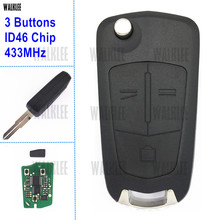 WALKLEE 3 Botões Chave Remota com o Chip ID46 terno para Opel/Vauxhall Antara 2011-2014 Keyless Entry Transmissor