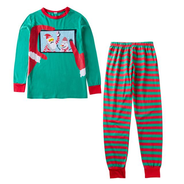 2018 Family clothes Christmas Mom Dad Baby kid Family Matching Sets Christmas Green Top+Striped Pants X'mas Pajamas Clothing Set