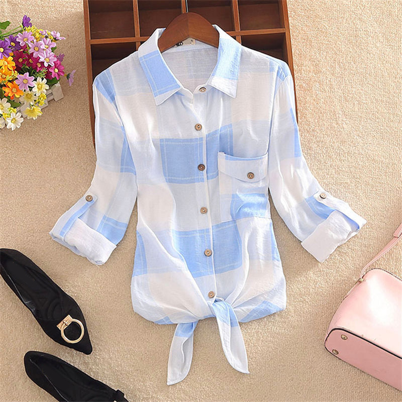 Plaid Striped Women's Shirt Tops Long Sleeve Bowtie Womens Shirts Single Breasted 2020 Spring Summer Office Lady Clothes Female