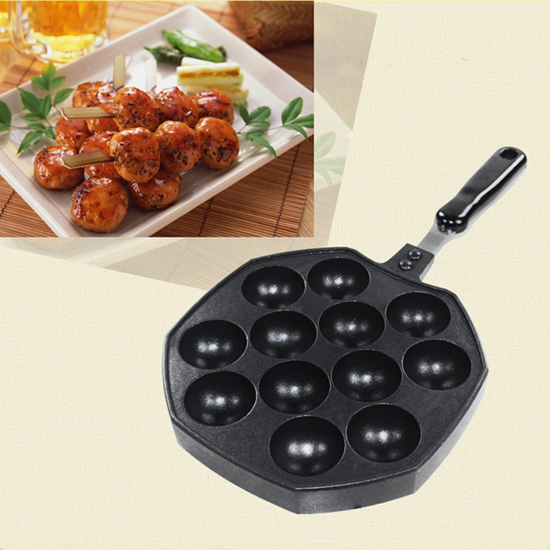 Japanese Octopus Maker Barbecue 12 Cavities Plate Burning Stove With Handle Plate Takoyaki Burning Board Cake Tools Pan NHT17001