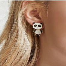 Super cute Meng Meng da Korean jewelry sweet drops of panda personality before and after the ear studs fashion design