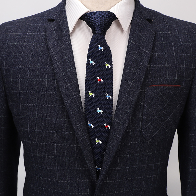 Mens Fashion Skinny Neck Tie Classic Knit Knitted Necktie Vintage Wedding Tie For Groom Groomsman Men School Students Boys