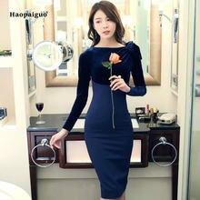 Женское бархатное платье карандаш средней длины элегантное однотонное