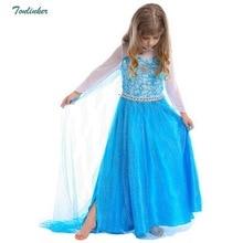 Girls Elsa Dress For Kids Cape Costumes Princess dress Snow Queen Party Dress Anna  Dresses For Children Clothes Vestidos Blue стоимость
