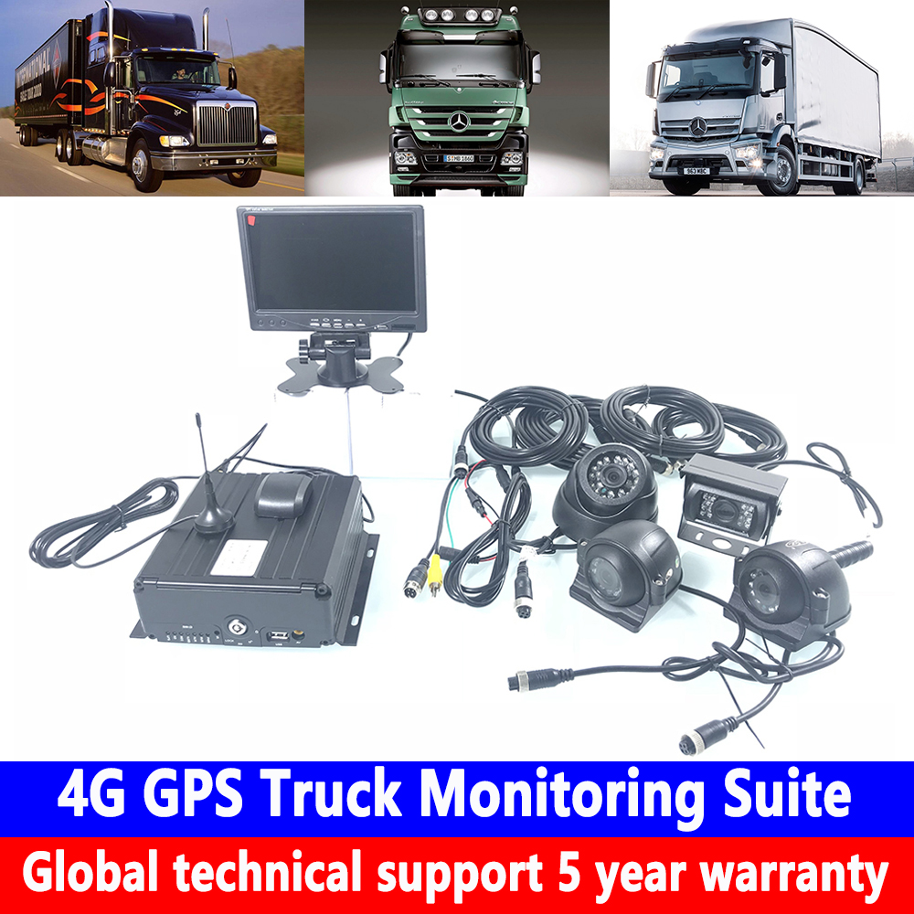 Cartão SD 4-way coaxial kit de monitoramento de monitoramento AHD720P 4G caminhão GPS em carro particular/maquinaria pesada/ veículo de engenharia