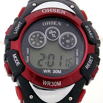 Ohsen rojo y negro reloj deportivo digital led de alarma del reloj de buceo de cuarzo freeship