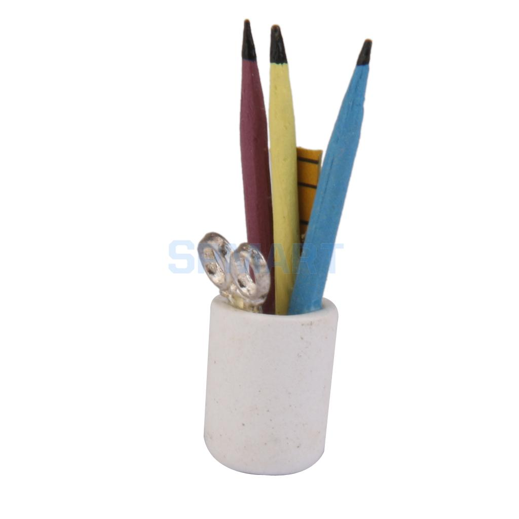 Pen Cup Holder 1 12 Dollhouse Miniature Pen Cup Holder With Pencil Ruler