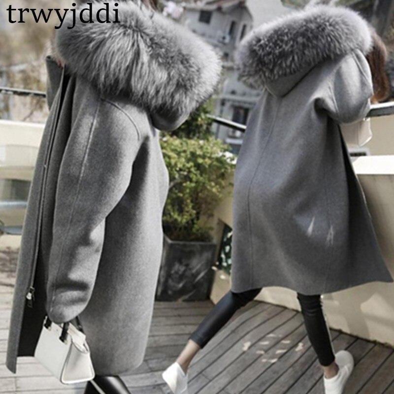 2018 Winter New Big Fur Collar Long Woolen Jacket Korean Thick Long Section Woolen Coat Long Sleeve Zipper Veste Femme A1604
