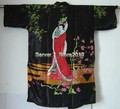 Kaftan De Seda Roupão Robe Vestido preto das Mulheres Novas Impressão belle Sleepwear Kimono Vestido Dropshipping M L XL