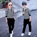 Girls tracksuit long sleeve autumn clothes set striped hood shirt & black pants 2pcs clothing set girls kids outwear sport suit