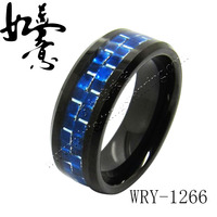 Wholesale Free Shipping Blue And White Carbide Fiber Inlaid Black Tungsten Carbide Ring 8mm Fashion Mens