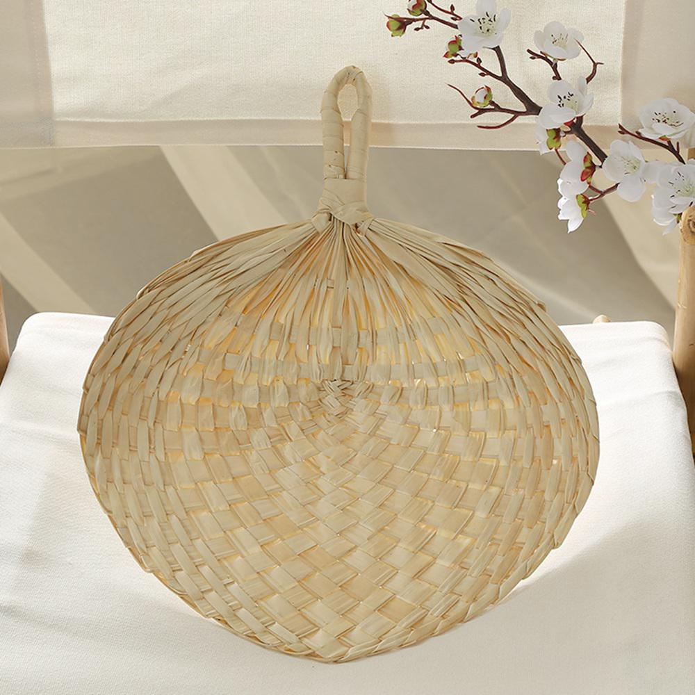 Handmade Cool Baby Mosquito Repellent Fan Summer Manual Straw Hand Fans Palm Leaf