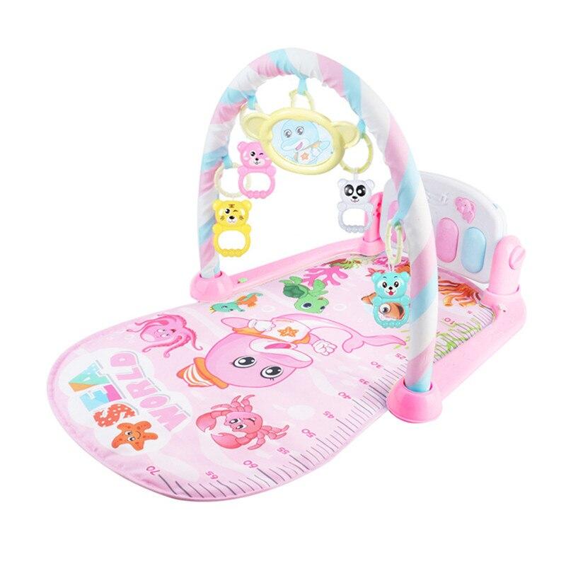 3 в 1 детский игровой коврик игрушки для ползания музыкальная игра развивающий коврик с пианино клавиатура Коврик для ребенка Детская Спортивная стойка игрушка - Цвет: Розовый
