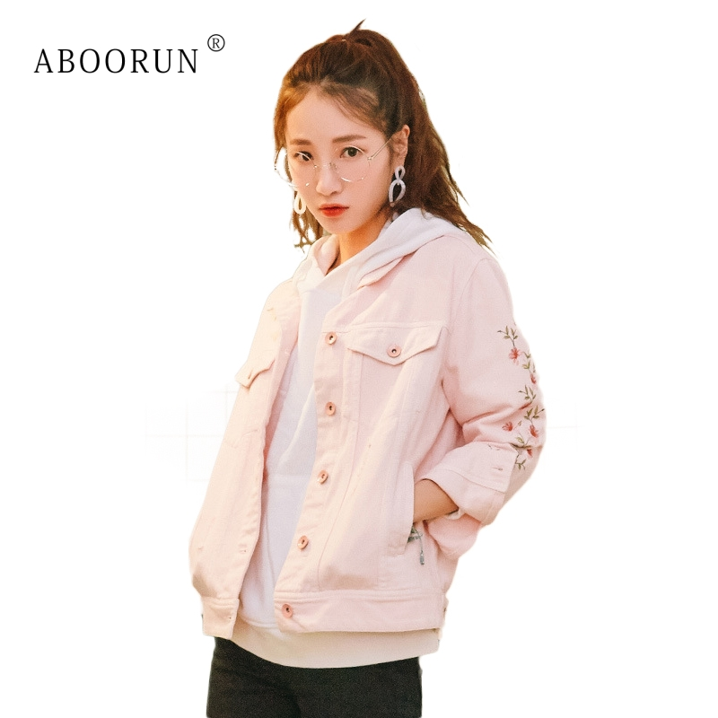 Manteau Tendance Pour Automne Femmes Pink Mode X1780 Jean Denim Broderie De Filles Rose Aboorun Chic Fleur Veste 7OxqzwOfv