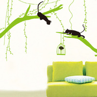 Two Black Cats Playing on Willows in Early Spring Wall Art Mural Poster Graphic Funny Cats Catching Birds Decal Wall Applique