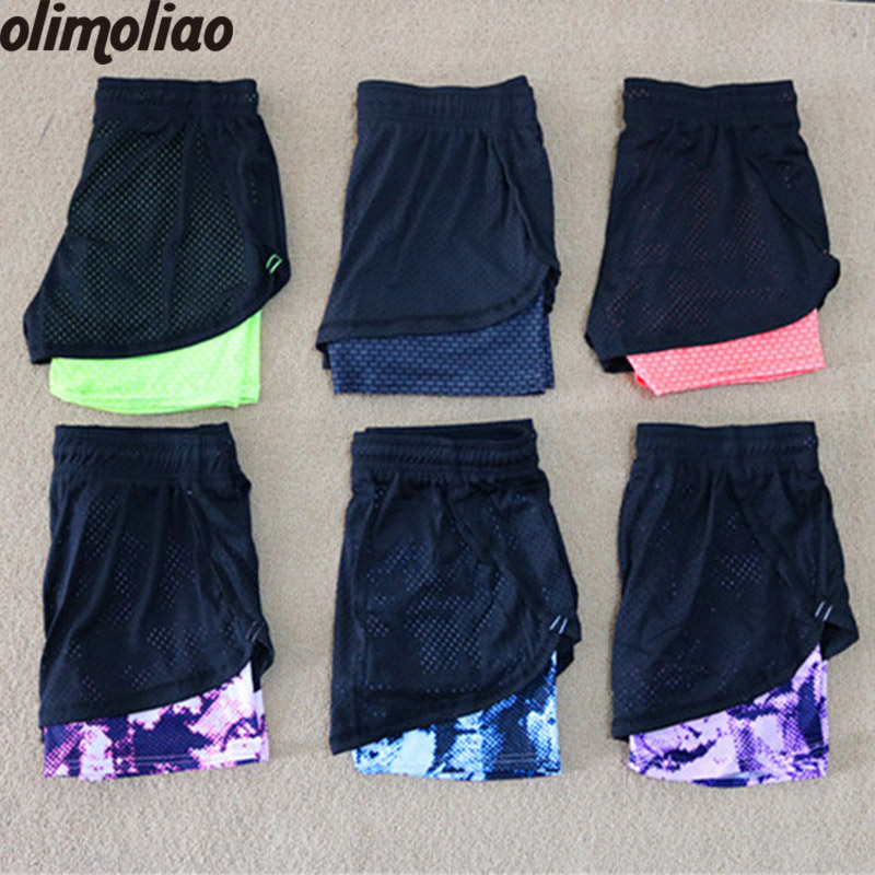 все цены на Yoga Shorts Women Sport Fitness 2 In 1 Women Athletic Shorts Cool Ladies Sport Running Short Fitness Clothes Jogging онлайн