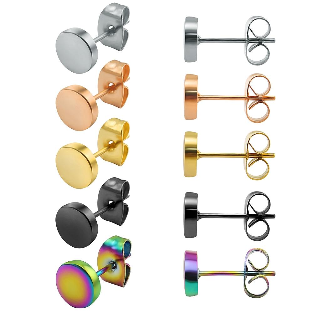 1 Pair Stainless Steel Ear Stud Earrings Multiple Color Round Stud Earrings Push Back Earring Women Men Fashion Piercing Jewelry