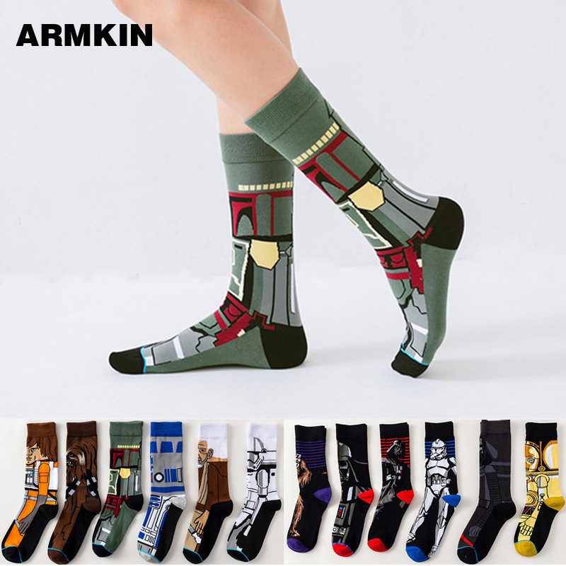 Armkin Star Wars Movie Men Socks Master Yoda Cosplay Sock Wookiee Jedi Knight Novelty Cotton Men Women Sock Harajuku Funny Socks