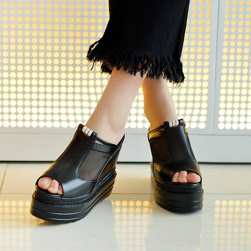 7061ecf778 Femininas Verão Esponja À Plataforma Água Palavra Bolo Sandália De Chinelos  Sapatos Malha Prova Boca Centímetros ...