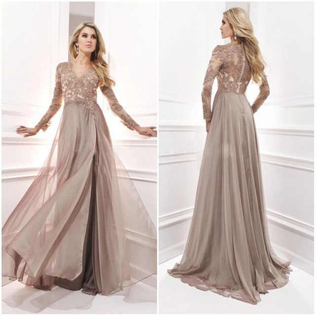 828227ef179 Индивидуальный заказ Vestidos De Noche коричневый шифон аппликации  официальная Вечеринка платье с длинным рукавом Кружева Вечерние