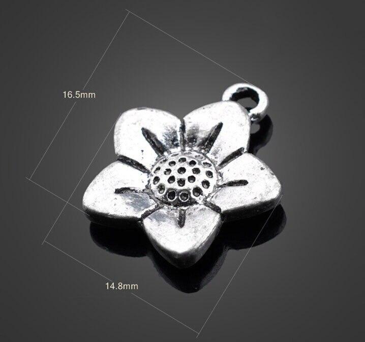 a2da5ce74a49 200 unids plata antigua flores joyería Amuletos Colgantes pulsera del  collar de los resultados de metal moda Accesorios 16.5mm x 14.8mm